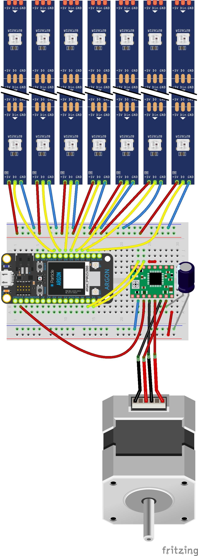 Stepper motor and bar graph